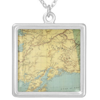 Rand McNally's Map Of Alaska Silver Plated Necklace