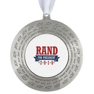 Rand para el presidente 2016 cinta certificada adorno de navidad redondo de peltre