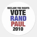 Rand Paul 2010 Round Sticker
