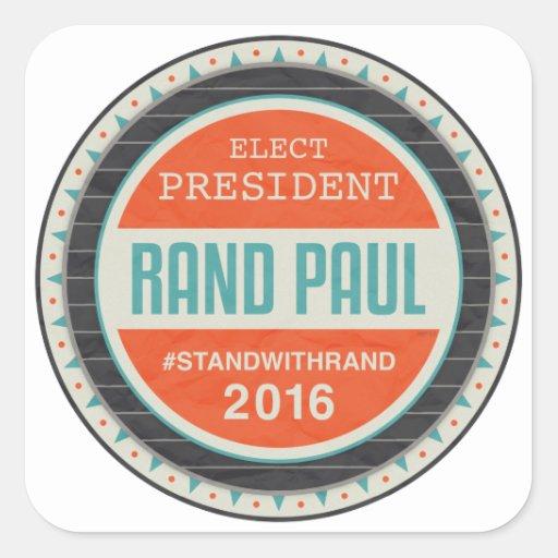 Rand Paul 2016 del voto Calcomanías Cuadradass Personalizadas