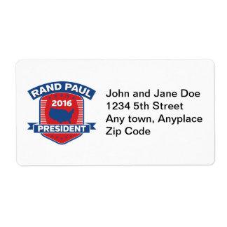 Rand Paul 2016 Etiqueta De Envío