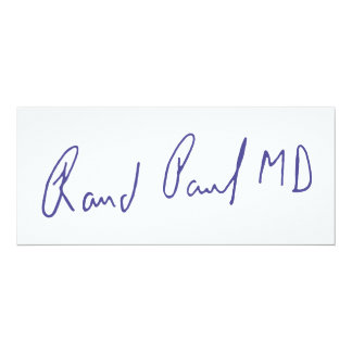 Rand Paul MD Signature Autograph Card