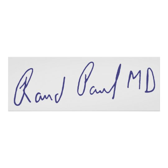 Rand Paul MD Signature Autograph Poster