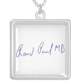 Rand Paul MD Signature Autograph Silver Plated Necklace