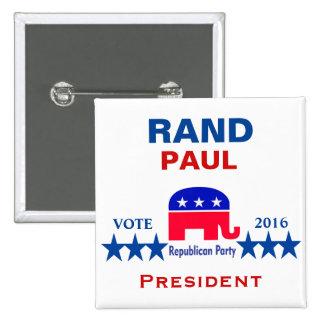 Rand Paul para el presidente 2016 Pin Cuadrada 5 Cm