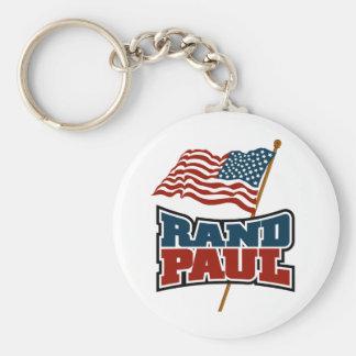 Rand Paul que agita la bandera americana Llavero Redondo Tipo Pin