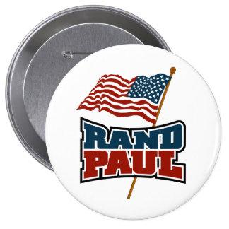 Rand Paul que agita la bandera americana Pin Redondo De 4 Pulgadas