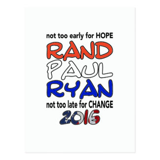 Rand Paul Ryan 2016 Presidential Election Post Card