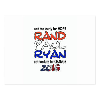 Rand Paul Ryan 2016 Presidential Election Postcards