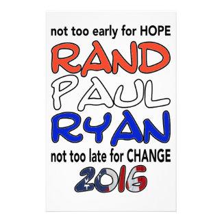 Rand Paul Ryan 2016 Presidential Election Stationery