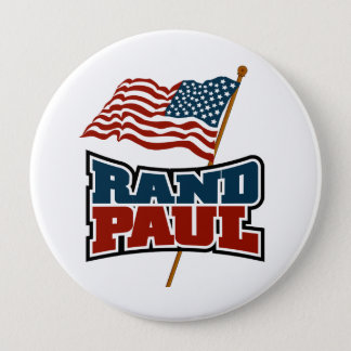 Rand Paul Waving American Flag Pinback Button