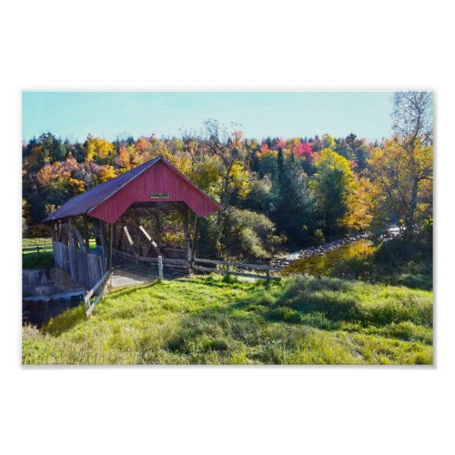Randall Covered Bridge in Autumn, Vermont Poster