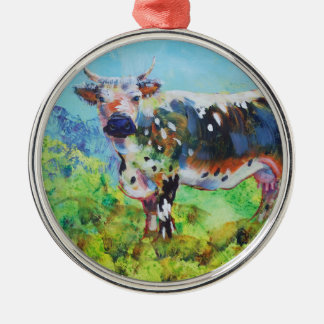 Randall Lineback cow painting Metal Ornament