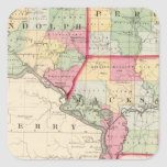 Randolph, Perry, condados de Jackson Pegatina Cuadrada