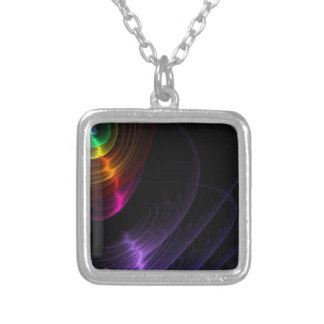 Random Abstract Digital Colorful Swirls Background Silver Plated Necklace