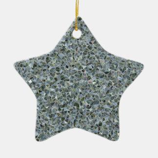 Random Abstract Triangles in Blue Ceramic Ornament