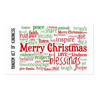Random Act of Kindness Christmas Cards Business Card Template