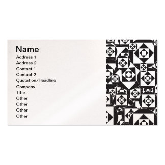 RANDOM BLACK WHITE SQUARES CIRCLES DESIGN PATTERN BUSINESS CARD