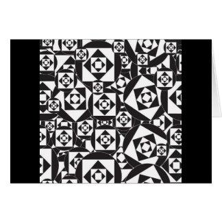 RANDOM BLACK WHITE SQUARES CIRCLES DESIGN PATTERN CARD