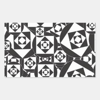 RANDOM BLACK WHITE SQUARES CIRCLES DESIGN PATTERN RECTANGULAR STICKER