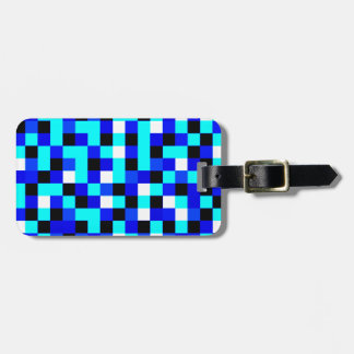 Random Checkered Pixel Art - Blue & White Bag Tag