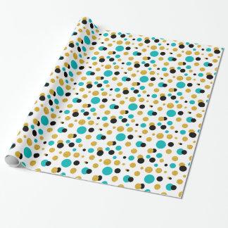 Random Circles Pattern Black Blue & Gold Glitter Wrapping Paper