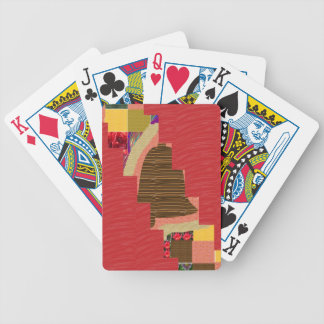 Random Color PATCH ABSTRACT Art on SILKY RED BASE Playing Cards