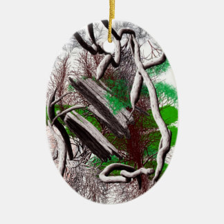 Random computer drawing of branches wood Double-Sided oval ceramic christmas ornament