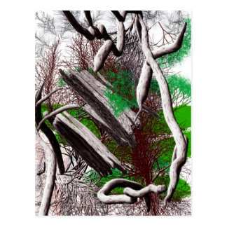 Random computer drawing of branches wood postcard