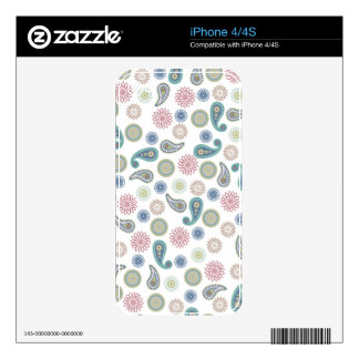 Random decorative eastern paisley red blue iPhone 4S decal