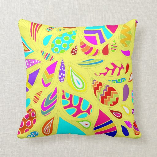 Random Drops of Color - Pale Yellow Pillows