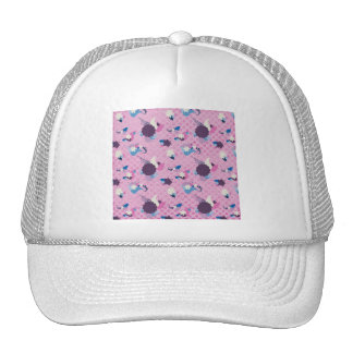 RANDOM FLORAL COLLAGE PINK BLUE WHITE PURPLE BACKG TRUCKER HATS