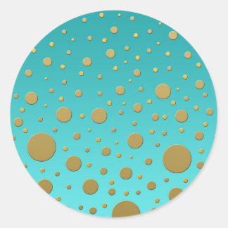 Random Gold Dots on Turquoise Modern Pattern Classic Round Sticker
