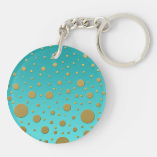 Random Gold Dots on Turquoise Modern Pattern Keychain