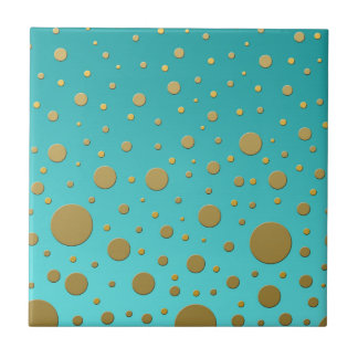 Random Gold Dots on Turquoise Modern Pattern Tile