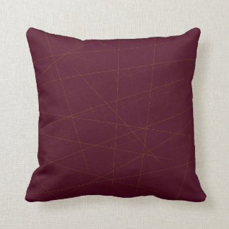 Random golden sticks on garnet burgundy throw pillow
