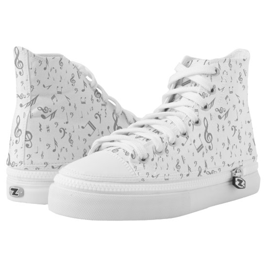 Random gray music notes patterned High-Top sneakers