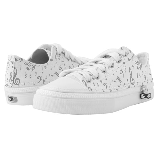 Random gray music notes patterned Low-Top sneakers