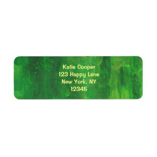 Random Green Abstract Painting Return Address Label