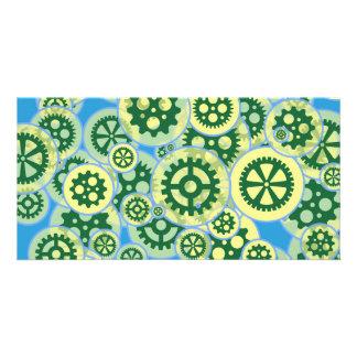 Random green gearwheels card