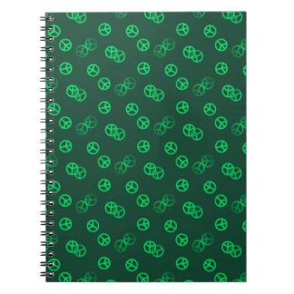 Random Green Peace Sign Pattern Notebook