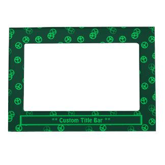 Random Green Peace Sign Pattern w/ Custom Title Magnetic Photo Frame