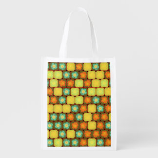 Random hibiscus pattern reusable grocery bags