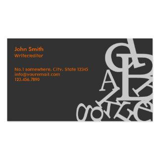 Random Letters Writer/Editor Dark Business Card