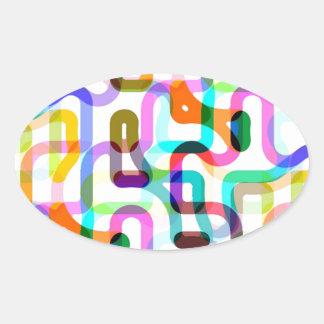 Random lines oval sticker