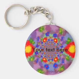 Random multicolored kaleidoscopic flames keychain