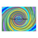 Random multicolored swirling vortex tiled 5x7 paper invitation card