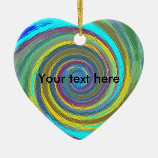 Random multicolored swirling vortex tiled Double-Sided heart ceramic christmas ornament