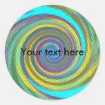 Random multicolored swirling vortex tiled classic round sticker