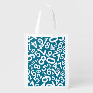 Random Numbers Pattern Reusable Grocery Bag